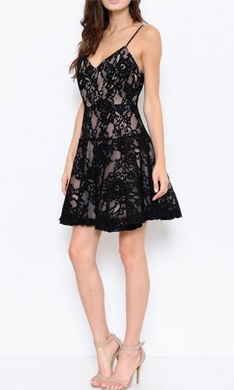 Sweet Moments Black Lace Spaghetti Strap V Neck Drop Waist Skater Circle A Line Flare Mini Dress - Sold Out