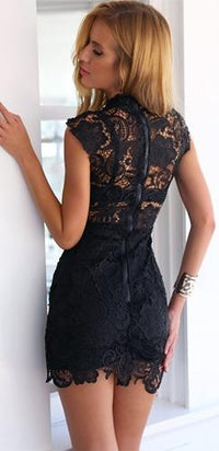 Love Goddess Black Sleeveless Funnel Neck Sheer Lace Cut Out Bodycon Mini Dress - Sold Out