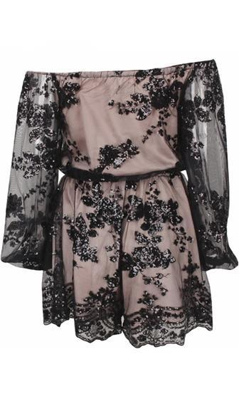 Hypnotize Me Black Beige Lace Long Sleeve Off The Shoulder Short Romper Playsuit - Sold Out
