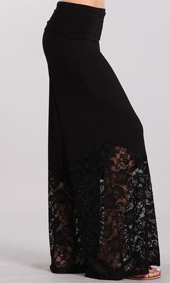 Lacy Nights Black Fold Over Waist Sheer Lace Wide Leg Palazzo Pants - Sold Out