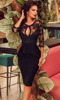 Secret Desire Black Sheer Mesh Lace 3/4 Sleeve Scoop Neck Keyhole Ruffle Peplum Bodycon Midi Dress - Sold Out