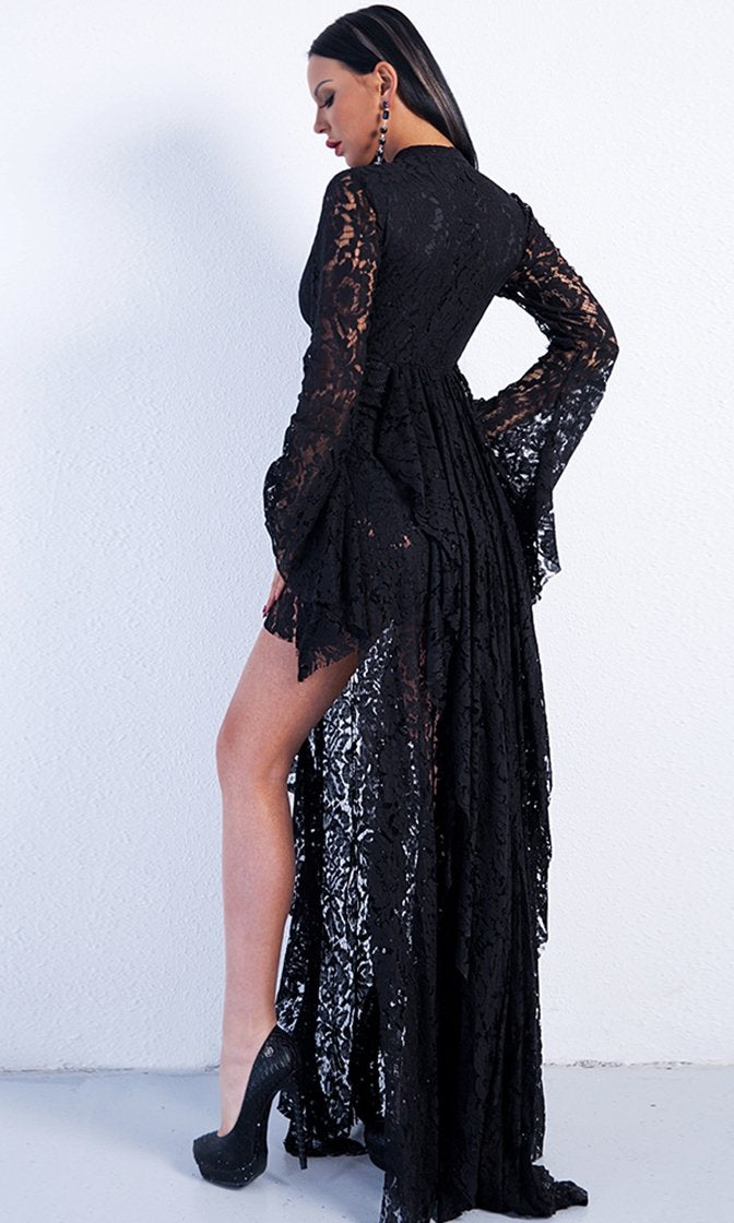 Capture the Moment Black Lace Long Bell Sleeve Tie Neck Cut Out Keyhole Ruffle Slit Maxi Dress
