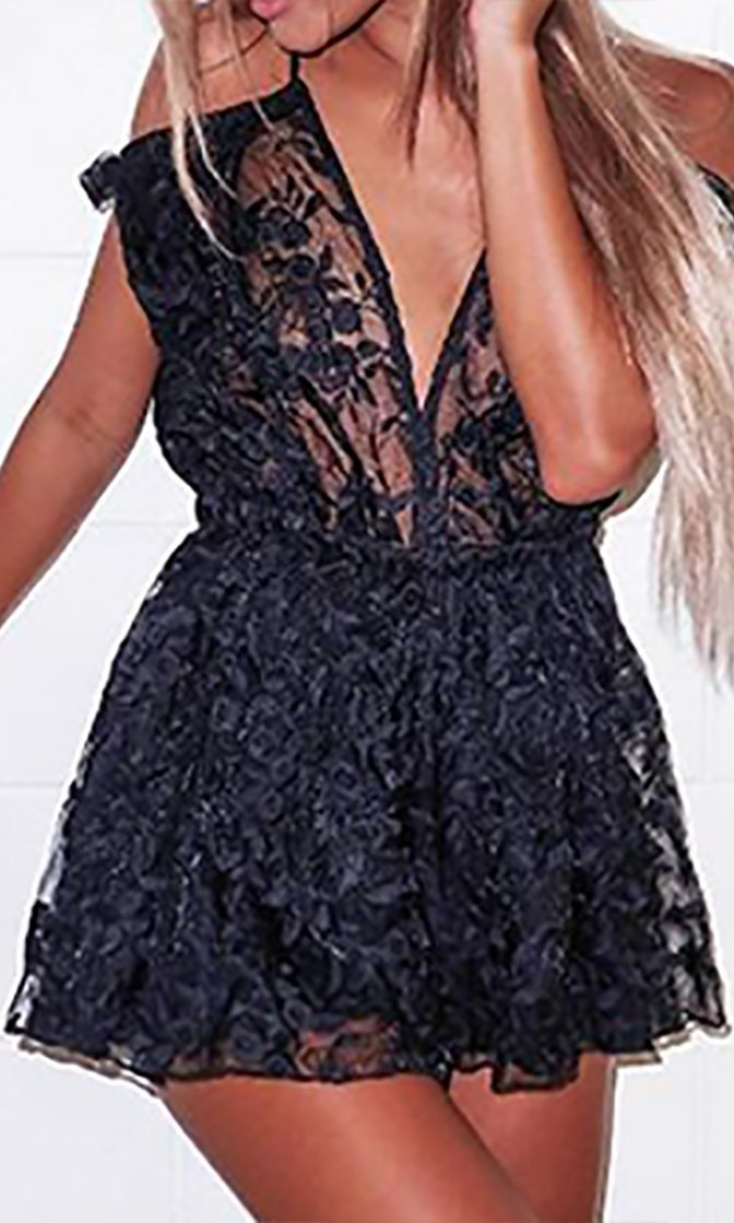 First To Flirt Black Sheer Lace Sleeveless Spaghetti Strap Cold Shoulder V Neck Ruffle Romper Playsuit - Sold Out