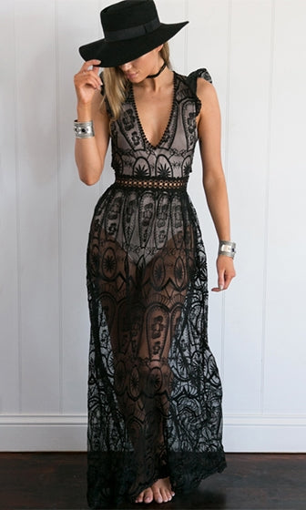 Dream of Me Black Sheer Mesh Lace Sleeveless Ruffle Deep V Neck Cut Out Maxi Casual Dress