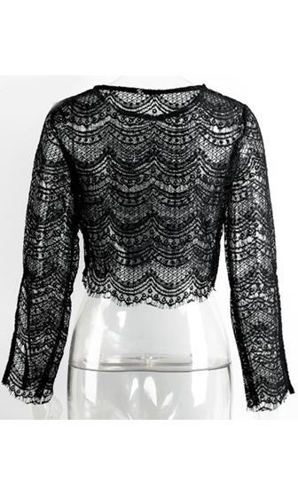 High Note Black Sheer Lace Long Slit Sleeve Scoop Neck Crop Blouse - Sold Out