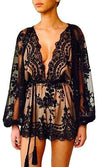 Holiday Romance Black Beige Sheer Floral Lace Long Loose Sleeve Plunge V Neck Tassel Sequin Mini Dress - Sold Out