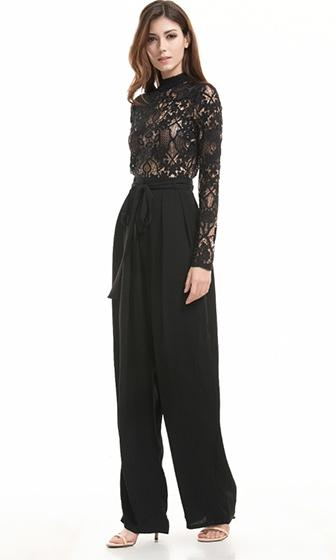 Broken Promises Black Sheer Lace Long Sleeve Mock Neck Tie Belt Straight Leg Jumpsuit