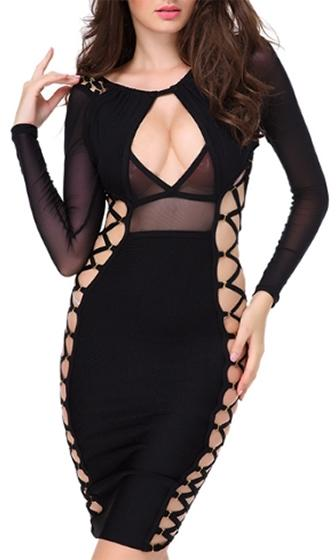 Haute Mess Black Long Sleeve Sheer Mesh Cut Out Keyhole Crisscross Lace Up Bodycon Bandage Midi Dress