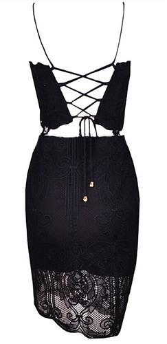 Closing Time Black Lace Spaghetti Strap Lace Up Back Crop Top Bodycon Two Piece Mini Dress - Sold Out