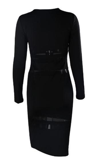 Romance Revival Black Long Sleeve Sheer Mesh Stripe Lace Up Plunge V Neck Bodycon Midi Dress - Sold Out