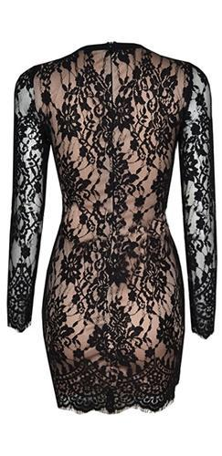 Edge Of Night Black Beige Floral Lace Long Sleeve Crisscross Lace Up Bodycon Mini Dress - Sold Out
