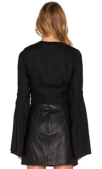 Living Large Black Long Bell Sleeve Lace Up Crisscross Plunge V Neck Blouse -  Sold Out