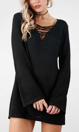 3a45135233 Mixed Messages Black Long Bell Sleeve Lace Up V Neck Sweater Mini Dress -  Sold Out