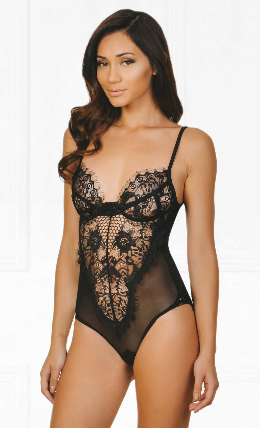 Indie XO Early To Bed Sheer Mesh Lace Sleeveless Spaghetti Strap V Neck Lingerie Bodysuit - Inspired by Khloe Kardashian