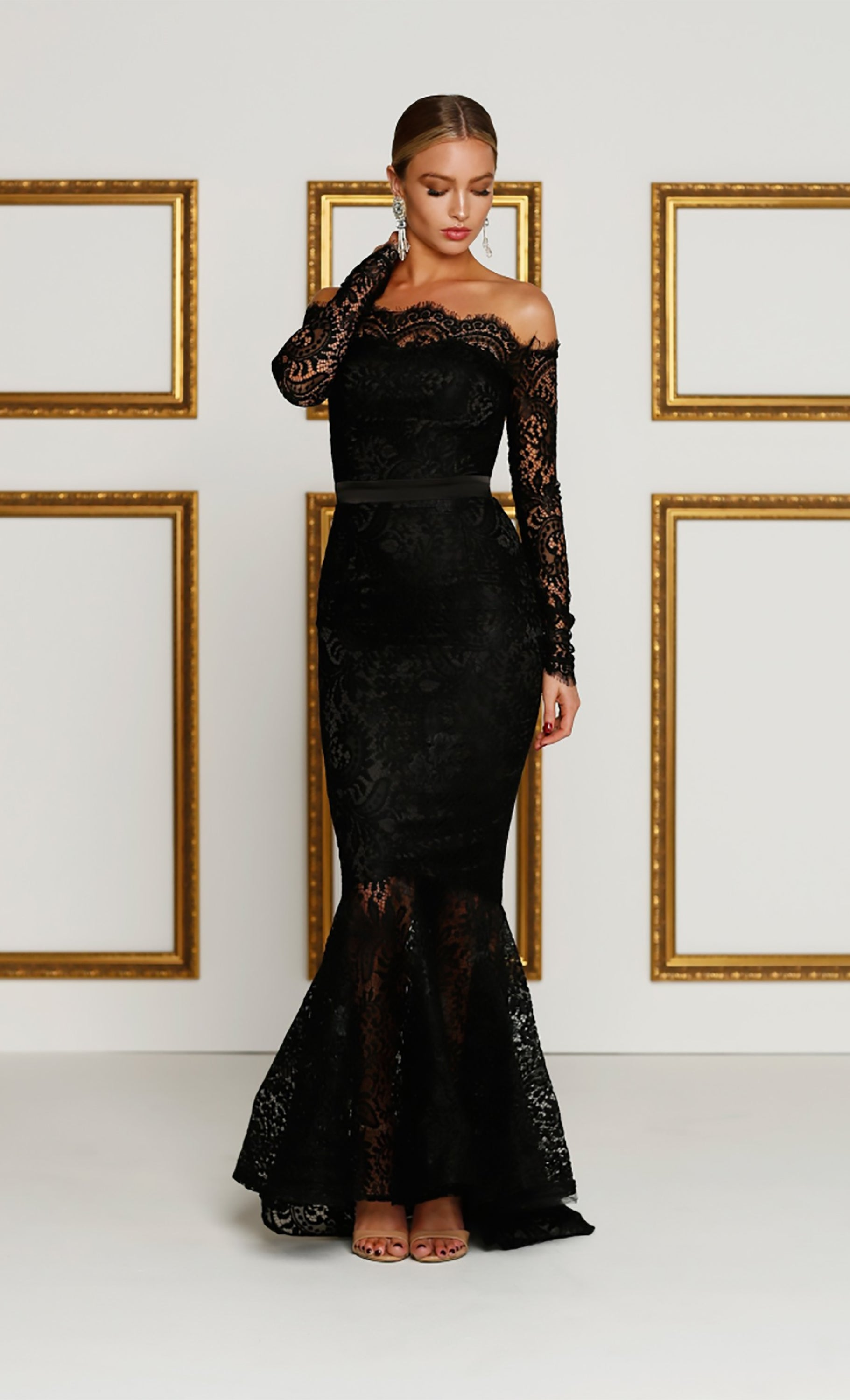 e2a812e5f641 Last Dance Black Lace Boatneck Scalloped Off The Shoulder Long Sleeve  Mermaid Maxi Dress