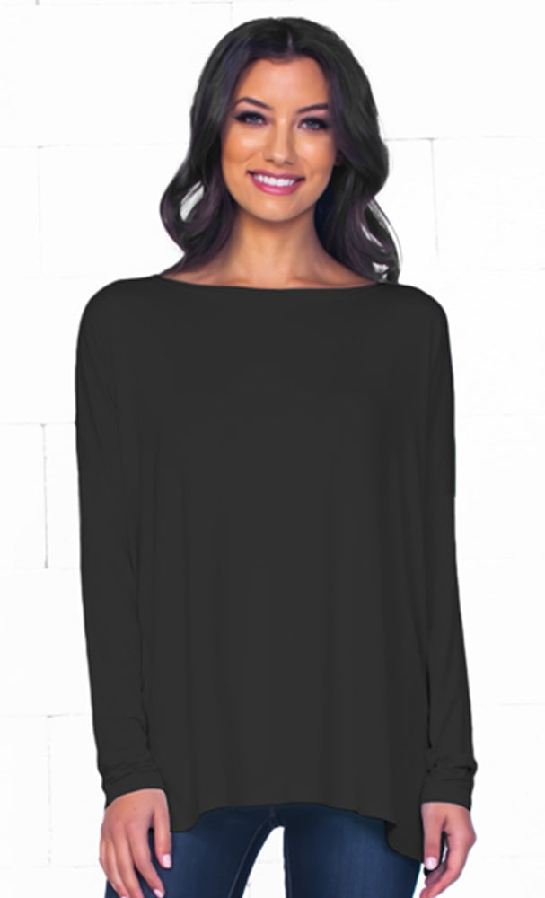 Piko 1988 Black Bamboo Piko Comfy Boat Neck Long Sleeve Slouchy Basic Knit Tee Shirt Top