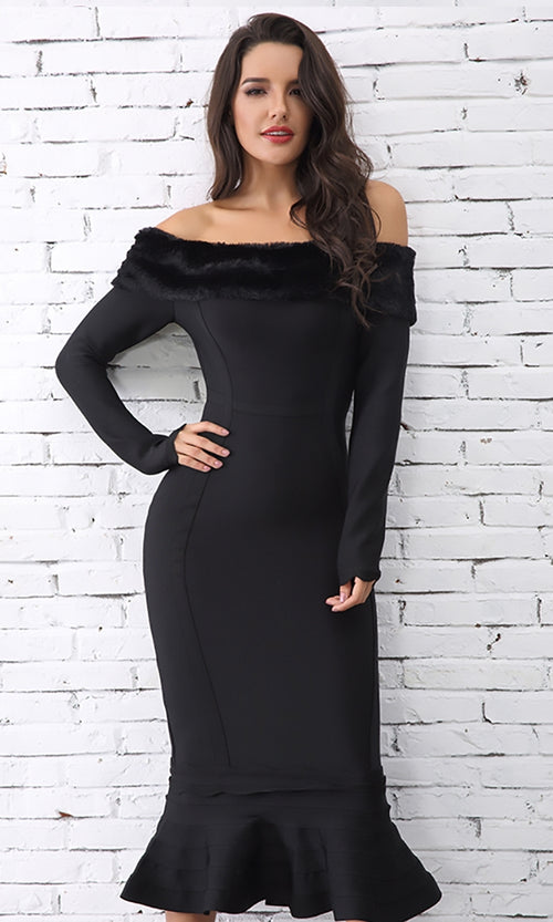 Up Fur A Challenge Black Long Sleeve Faux Fur Trim Off The Shoulder Fishtail Mermaid Bodycon Bandage Midi Dress