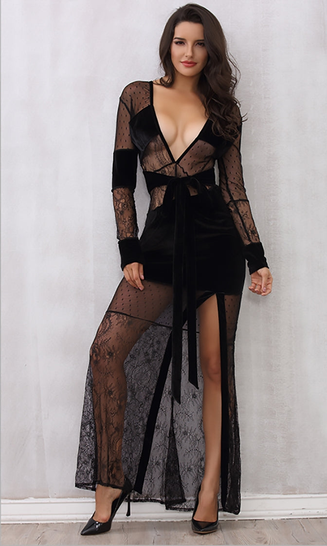 Live Out Loud Black Sheer Mesh Lace Long Sleeve Plunge V Neck V Back High Slit Maxi Dress