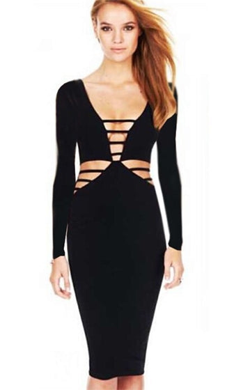 City Of Dreams Black Long Sleeve Plunge V Neck Cut Out Bodycon Bandage Midi Dress - Sold Out
