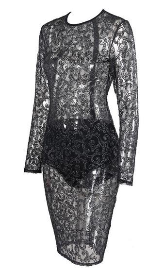 Cover Me Black Sheer Mesh Lace Long Sleeve Crew Neck Bodycon Midi Dress - Sold Out