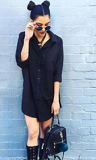 Dial It Down Black Long Sleeve Button Front Loose Mini Shirt Dress - Sold Out