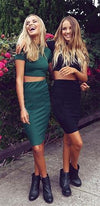 Sweet Nothings Black Short Sleeve Mock Neck Crop Top Bodycon Midi Skirt Two Piece Dress  -  Sold Out