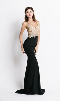 Legendary Lover Black Nude Gold Spaghetti Strap Sequin V Neck Backless Ruched Maxi Dress - Sold Out