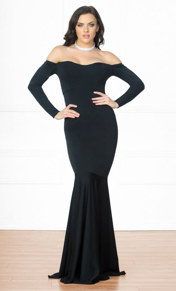 f742a82c2917 Indie XO Dramatic Moment Black Long Sleeve Off The Shoulder Mermaid Maxi  Dress