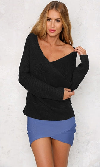 Can't Complain Black Long Sleeve Cross Wrap V Neck Off The Shoulder Pullover Sweater