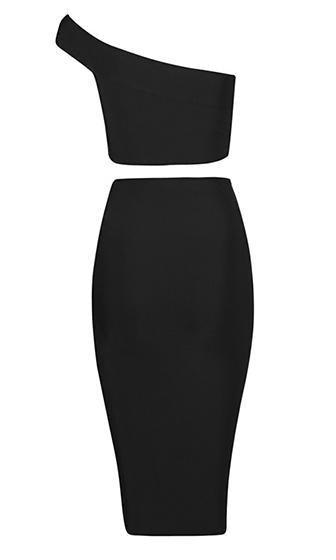 Double Trouble Black White One Shoulder Crop Slashed Skirt Two Piece Bodycon Bandage Midi Dress - Sold Out