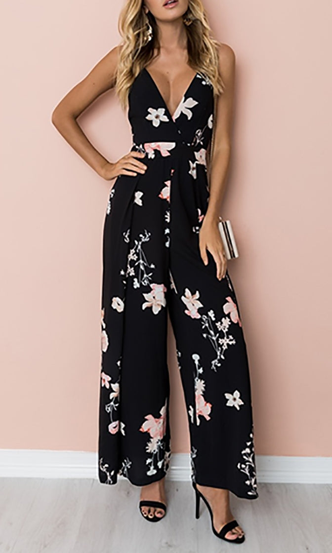 rational construction latest purchase newest Garden Glamour Black Pink Floral Sleeveless Spaghetti Strap V Neck Cut Out  Tie Back Jumpsuit