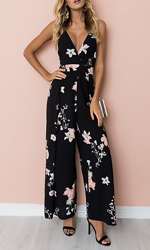 Garden Glamour Black Pink Floral Sleeveless Spaghetti Strap V Neck Cut Out Tie Back Jumpsuit
