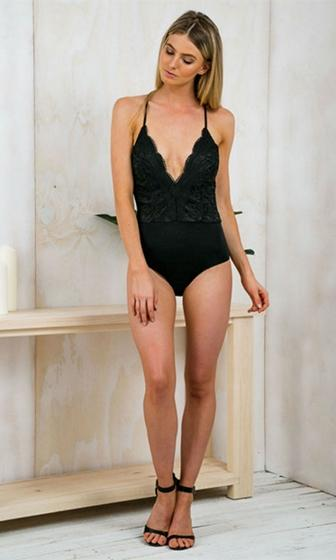 Gold Coast Black Lace Sleeveless Spaghetti Strap Plunge V Neck X Back Bodysuit Top - Sold Out!