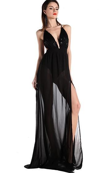 Crowd Pleaser Black Sequin Spaghetti Strap Halter Plunge V Neck High Slit Chiffon Maxi Dress - Sold out
