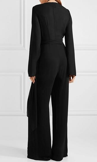 On The Clock Black Long Bell Sleeve Plunge V Neck Tie Waist Wide Leg Jumpsuit