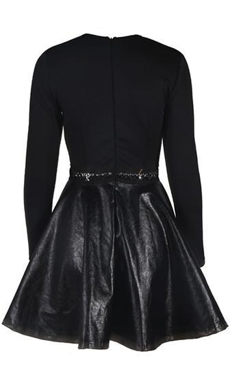 Break In The Chain Black Long Sleeve Scoop Neck Cut Out Waist PU Faux Leather Skater Circle A Line Flare Mini Dress - Sold Out