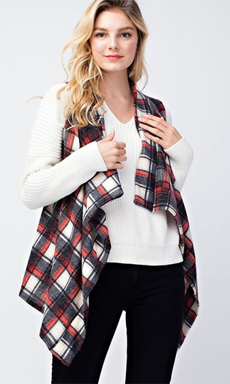 Check On Me Plaid Sleeveless Open Front Vest - 2 Colors Available (Pre-Order)