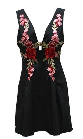 For Your Love Black Red Green Rose Floral Sleeveless Plunge V Neck Skater Circle A Line Flare Mini Dress - Sold Out
