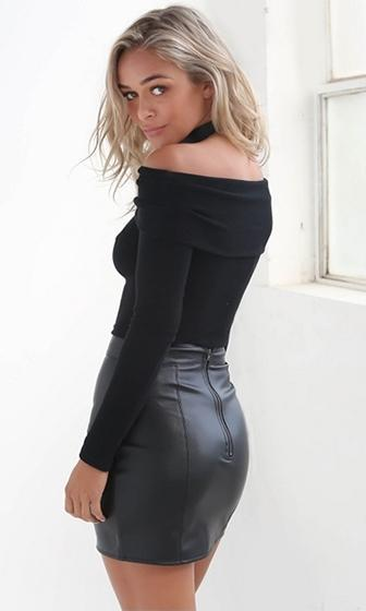 Free To Love Black Long Sleeve Fold Over Off The Shoulder Ribbed Sweater - Sold Out