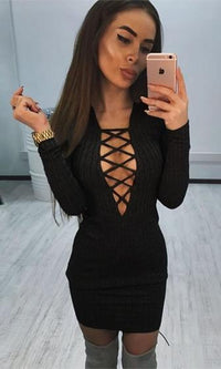 Full Disclosure Black Long Sleeve Plunge V Neck Lace Up Bodycon Rib Knit Sweater Midi Dress - Sold Out