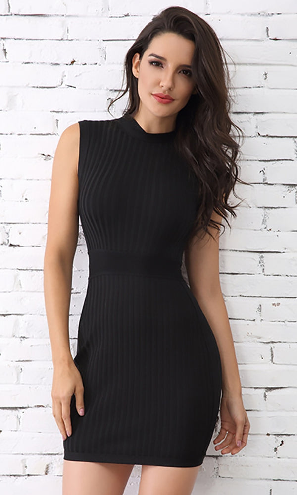 c0432045abd Always A Winner Black Sleeveless Bandage Ribbed Mock Neck Bodycon Mini Dress