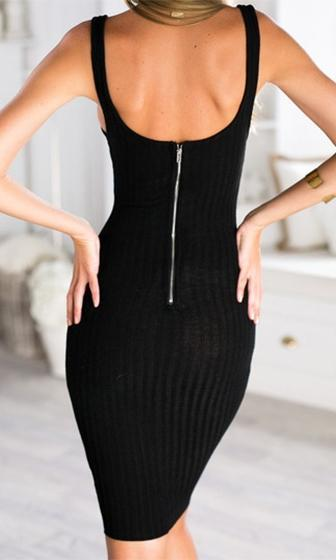 Dance To The Rhythm Black Sleeveless Scoop Neck Bodycon Ribbed Sweater Knit Midi Dress - Sold Out