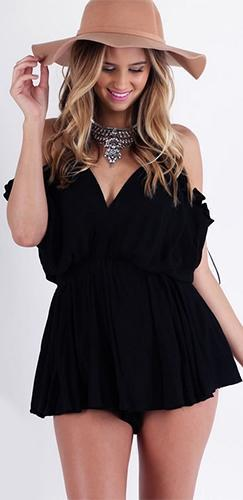 Garden Party Black Spaghetti Strap V Neck Cut Out Shoulder Ruffle Trim Short Romper - Sold Out