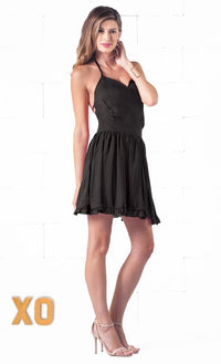 Indie XO Hopeful Love Black Spaghetti Strap V Neck Backless Chiffon Ruffle Trim Skater Circle A Line Flare Mini Dress - Just Ours! - Out of Stock