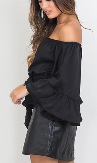 Full Spectrum Black Satin Long Flare Sleeve Off The Shoulder Tie Waist Blouse Top - Sold Out