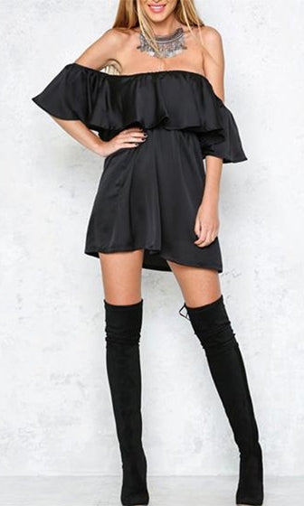 Break The Mold Black Satin Short Sleeve Off The Shoulder Ruffle Mini Dress - Sold Out