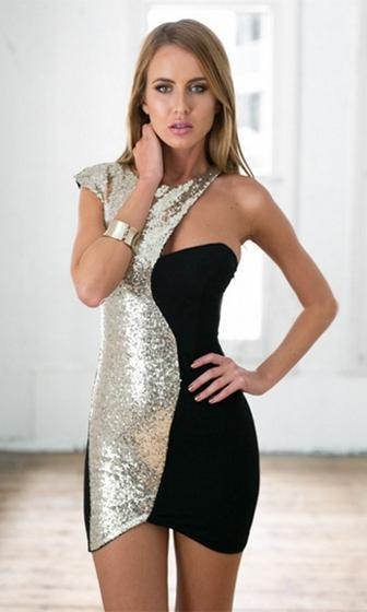 Sin City Black Gold Sequin One Short Sleeve Scoop Neck Asymmetric Bodycon Mini Dress - Sold Out