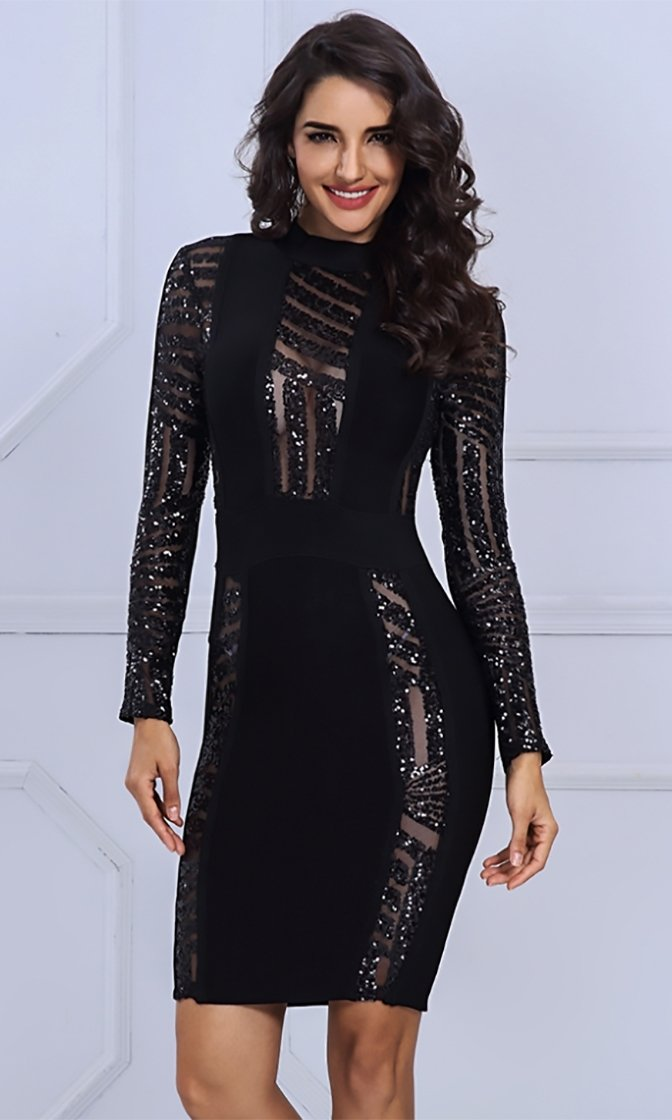 Hot Commodity Black Sheer Mesh Sequin Long Sleeve Mock Neck Bodycon Bandage Mini Dress