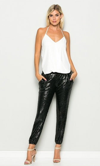 Glam Rock Black Sequin Drawstring Tassel Waist Jogger Pant (Pre-Order) - Sold Out