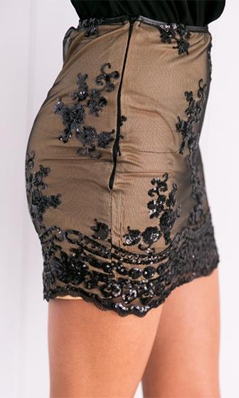 Forever Yours Black Sequin Lace Stretch Elastic Waist A Line Mini Skirt - Sold Out